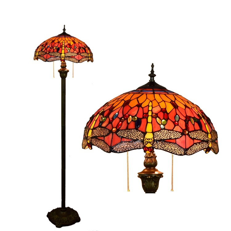 Европейский Тиффани цветное стекло красный стрекоза арт гостиная столовая спальня декоративные торшер