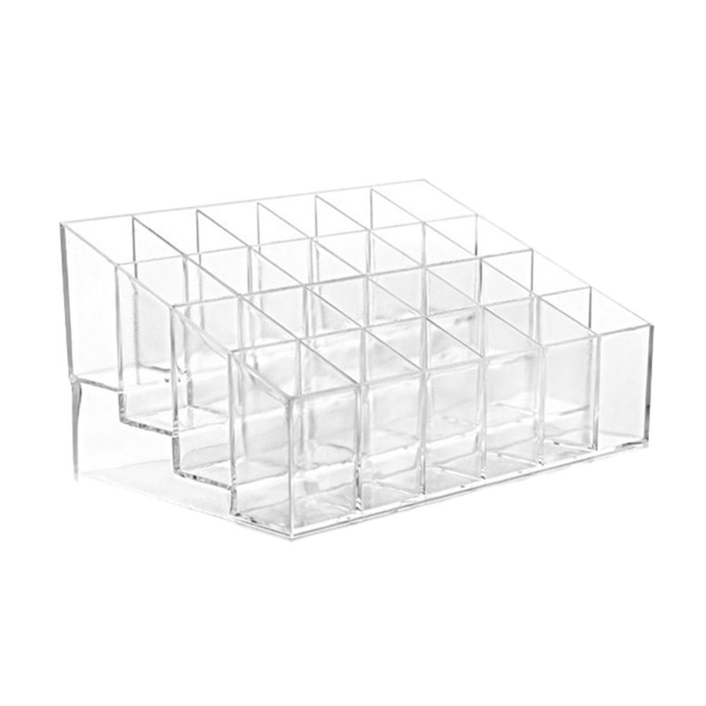 24-grid Clear Lipstick Nail Polish Cosmetic Storage Box Organizer Display Stand  Jewelry Tray Storage Box