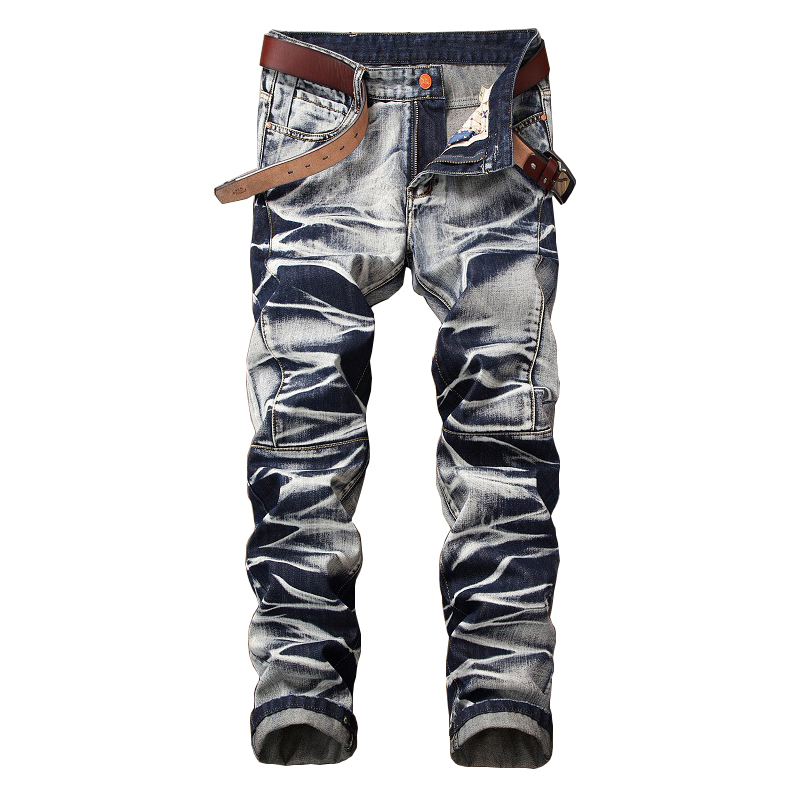 ABOORUN Fashion Mens Tie Dye Jeans Distressed Vintage Straight fit Denim Pants Mens Brand Clothes YC1188