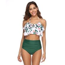 New Sexy Floral Print Bikini Women Swimsuit Backless Halter Bathing Suit S-2XL Girl High Waist Swimwear Lotus Padded Bikini Set fashionable halter floral print bikini set for women