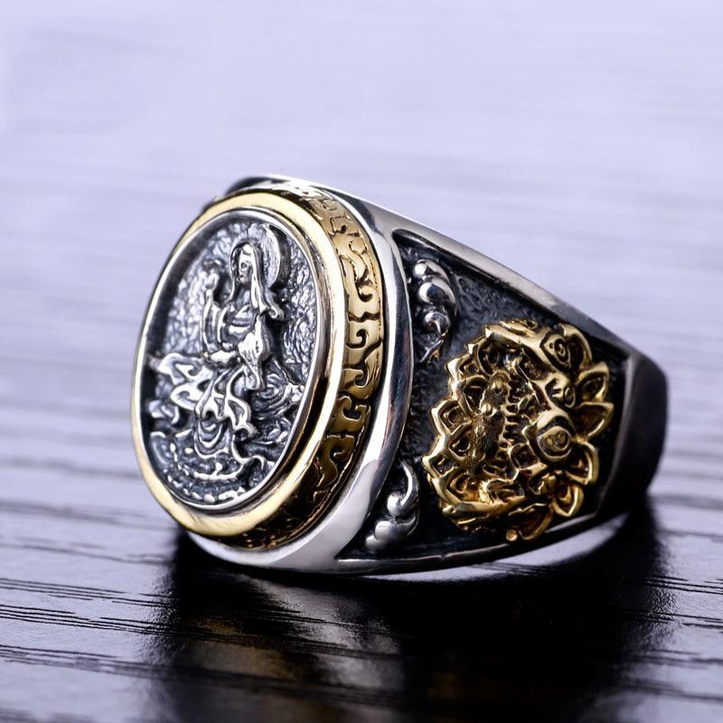 ZABRA Vintage Buddhismus Göttin 925 Silber Drache Männlicher Ring - Modeschmuck - Foto 3