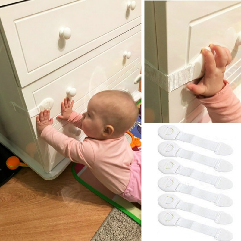5pcs/lot Plastic Baby Safety Cabinet Lock Child Cupboard Door Drawer Refrigerator Protection Lock Baby Security Proof Lock Strap