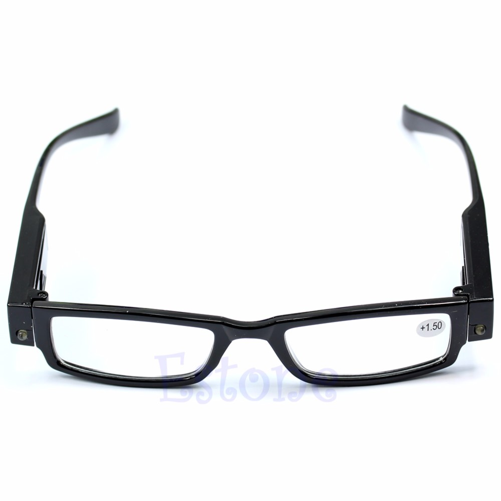 Classic Unisex Multi Strength LED Reading <font><b>Glasses</b></font> Eyeglass Spectacle Diopter Magnifier Light UP Eyewear Drop ship # image