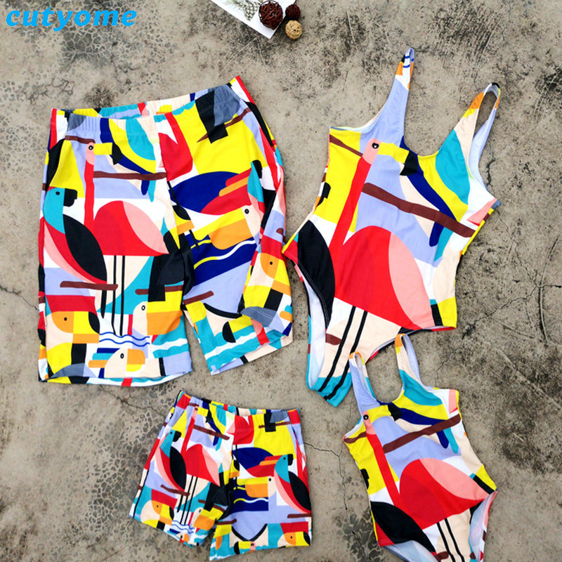 Mother Daughter Father Son Swimwear Family Summer Bathing Women Girl Bikini Men Boy Shorts Matching Swimsuits Clothes Parent