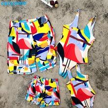 c74bf41e5f Mother Daughter Father Son Swimwear Family Summer Bathing Women Girl Bikini  Men Boy Shorts Matching Swimsuits