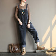 Johnature Women Corduroy Jumpsuits Vintage Warm Cloths 2018 Autumn Winter New Solid Color Loose Pockets High Quality Jumpsuits(China)