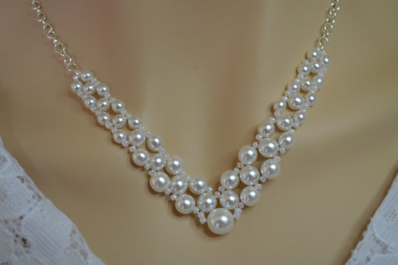 Simple Bridal Pearl Necklace V Shaped Woven White Pearls
