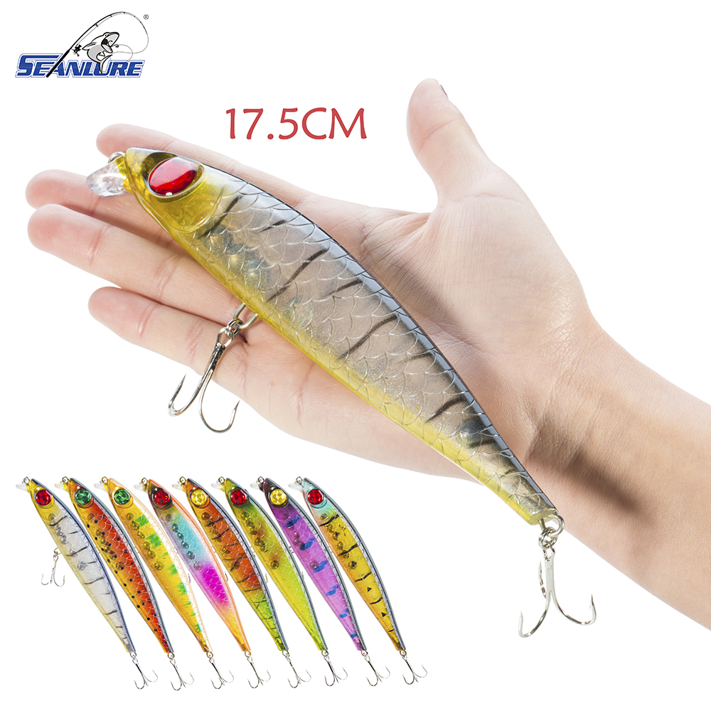 Seanlure Lifelike Oversized 3D eyes 17.5cm 39.2g 1pcs/Pack High quality Treble Hooks Ocean Big Hard Bait Minnow Fishing Lure lifelike minnow fishing lure 1pcs 9 5cm 11 2g high quality treble hook artificial hard bait treble hook crankbait with 3d eyes