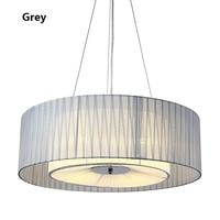 Modern Simple Fabric Shade Drum Chandelier Light Nordic Loft Hanglamp Restaurant Bedroom Lighting Luminaires Suspendus 110