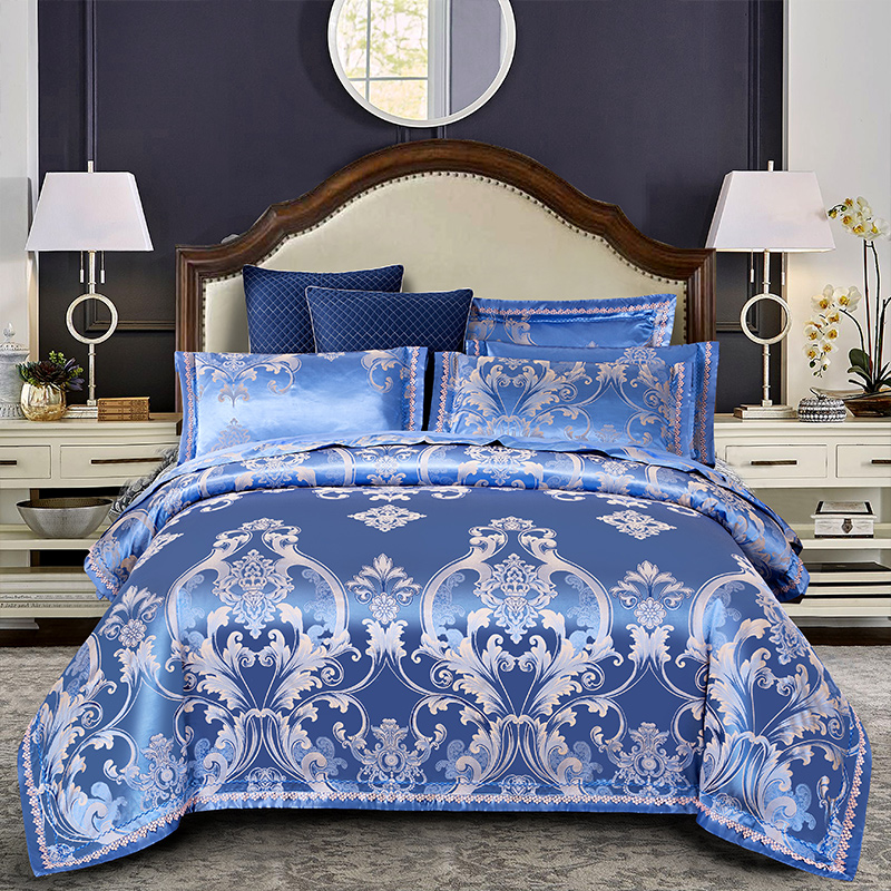 2019 Luxury Silk Cotton Jacquard Euro Classic Bedding set Lace Duvet Cover Sets Bed Sheet Pillowcases