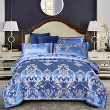 2019 Luxury Silk Cotton Jacquard Euro Classic Bedding set Lace Duvet Cover Sets Bed Sheet Pillowcases Queen King Size 4Pcs(China)