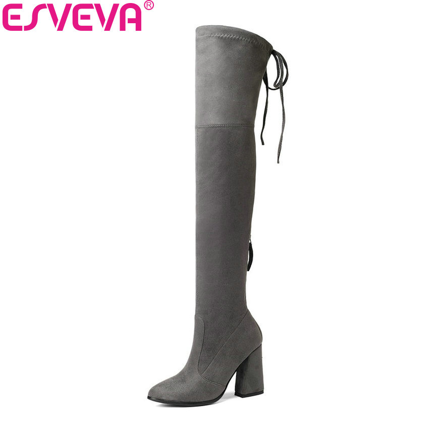 ESVEVA 2019 Women Boots Zipper Over The Knee Boots Stretch Fabrics Pointed Toe Look Slim Hoof High Heels Women Shoes Size 34-43 esveva 2018 women boots slim look boots square high heel round toe over the knee boots pointed toe sexy ladies boots size 34 43