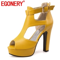 EGONERY 12 cm Super High heels woman's Sandals sexy Punk girl Buckle Strap yellow black white Solid Platform shoes plus size 45