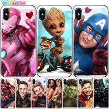 Cute Hero Marvel Groot Spiderman Iron Man Thor Hulk Phone Case Cover For iPhone XS Max XR X 7 6s 8 Plus 5S case cover etui Coque