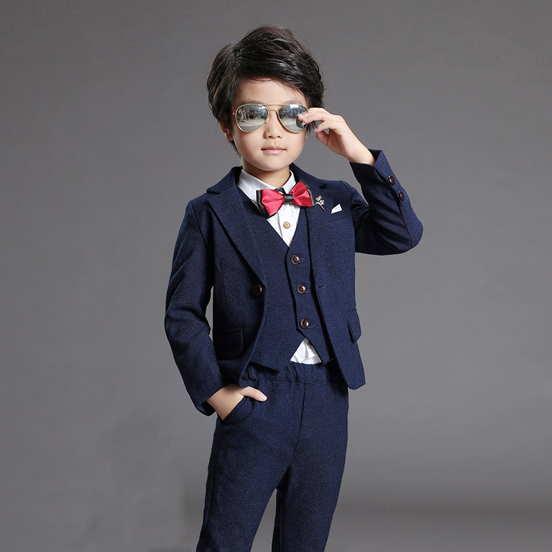 Boys Brand Suits Weddings Kids Prom Blazer Suits Birthday Gift Clothes Children Costume Formal Dress Jackets Vest Pants F38 2017 new brand children suit set boys kids blazer formal dress suit for weddings birthday clothes set jackets vest pants