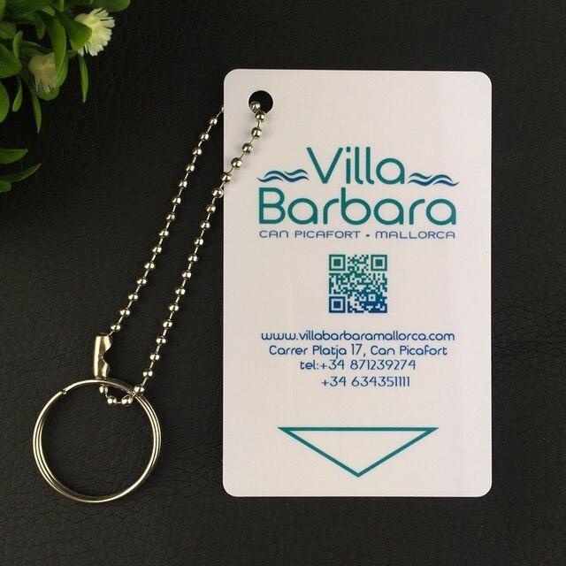 50 Pcs Personnalis Carte De Visite En Plastique Pvc Trou Badge Nominatif Mat Avec