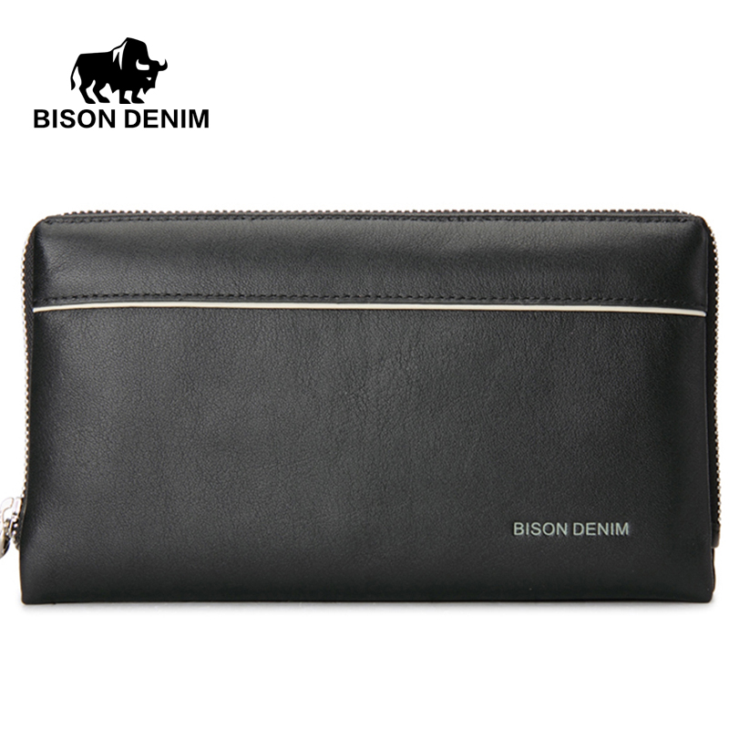 BISON DENIM Brand 2017 Big Capacity Mens Clutch Wrist Strap Purse Genuine Leather Wallet Cowhide Bag men Zipper Open Bag N2292-1 marbo mh a102