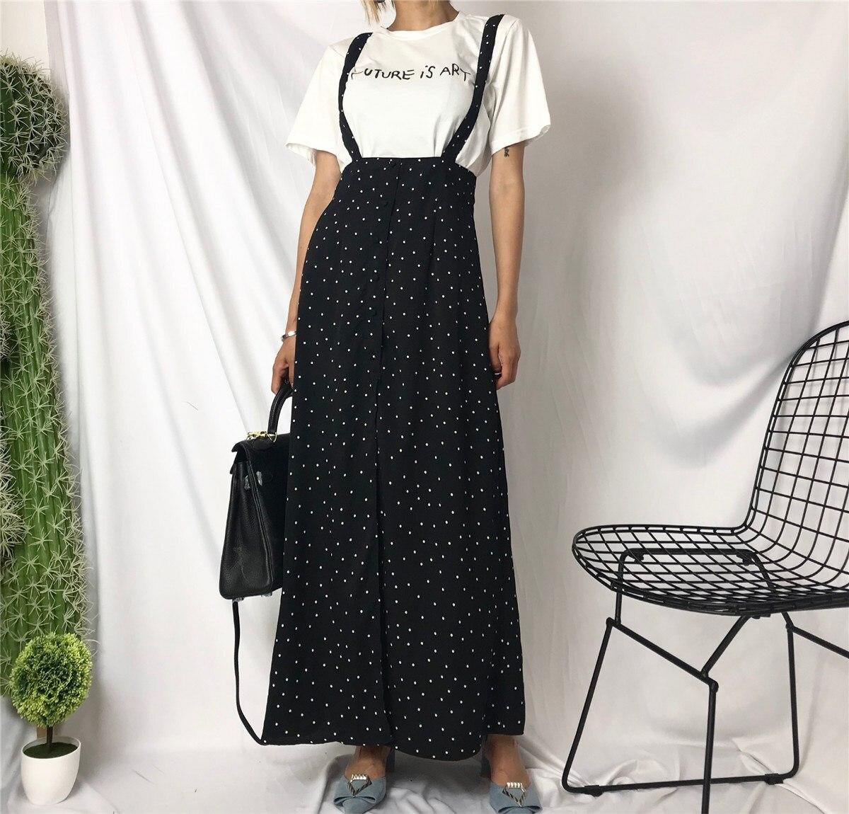 Fashion Women Vintage Dot Print Long Skirt Casual A Line Black Maxi Skirt High Waist Slim Suspenders Streetwear a-line