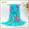 Новый 2016 весной и осенью женщин жоржет шифон шарфы мода цветочным узором тонкий длинный шарф шаль cachecol оптовая