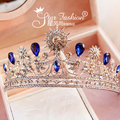 Star fashion fan ye Crown with blue bride jewelry tiara bridal tiara stage show dinner