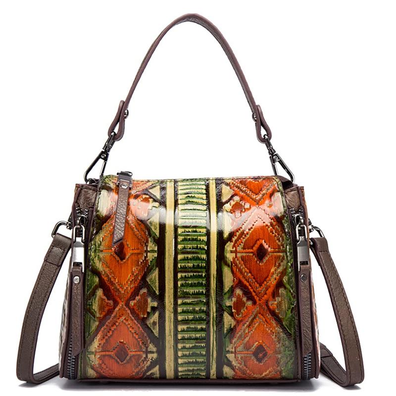 Genuine Leather Embossed Women Top Handle Bag Cross Body Handbag Luxury Retro Square Messenger Shoulder Bags