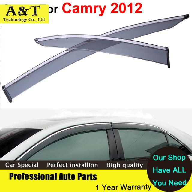 A & T estilo do carro do Windows viseira Ventilação Chuva Sol Janela Escudo viseira Para Toyota Camry 2012 2013 2014 Adesivos Capas de Carro-Styling Acce