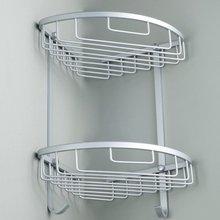 Bathroom Corner Shelf 2 layer space Double Tiers Triangle Shower Basket Shampoo Soap Cosmetic Storage Shelves Rack Aluminum New цена