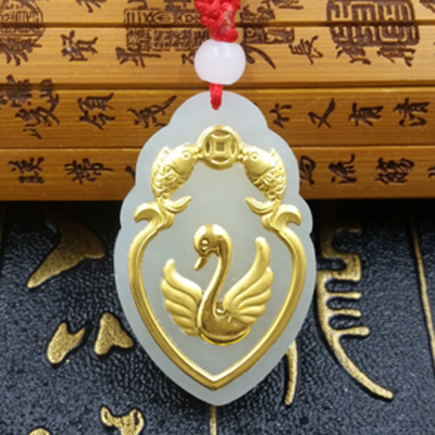 Hot selling natural hetian jade gold love swan pendant necklace men and women jewelry gift amulet