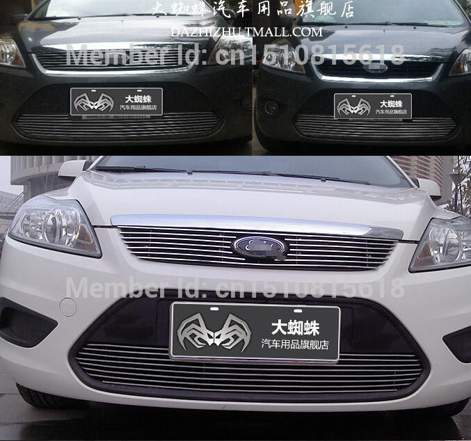 Quality Stainless steel Car front bumper Mesh Grille Around Trim Racing Grills 2009 -2011for FORD FOCUS abs chrome front grille around trim racing grills trim for 2013 hyundai santa fe ix45