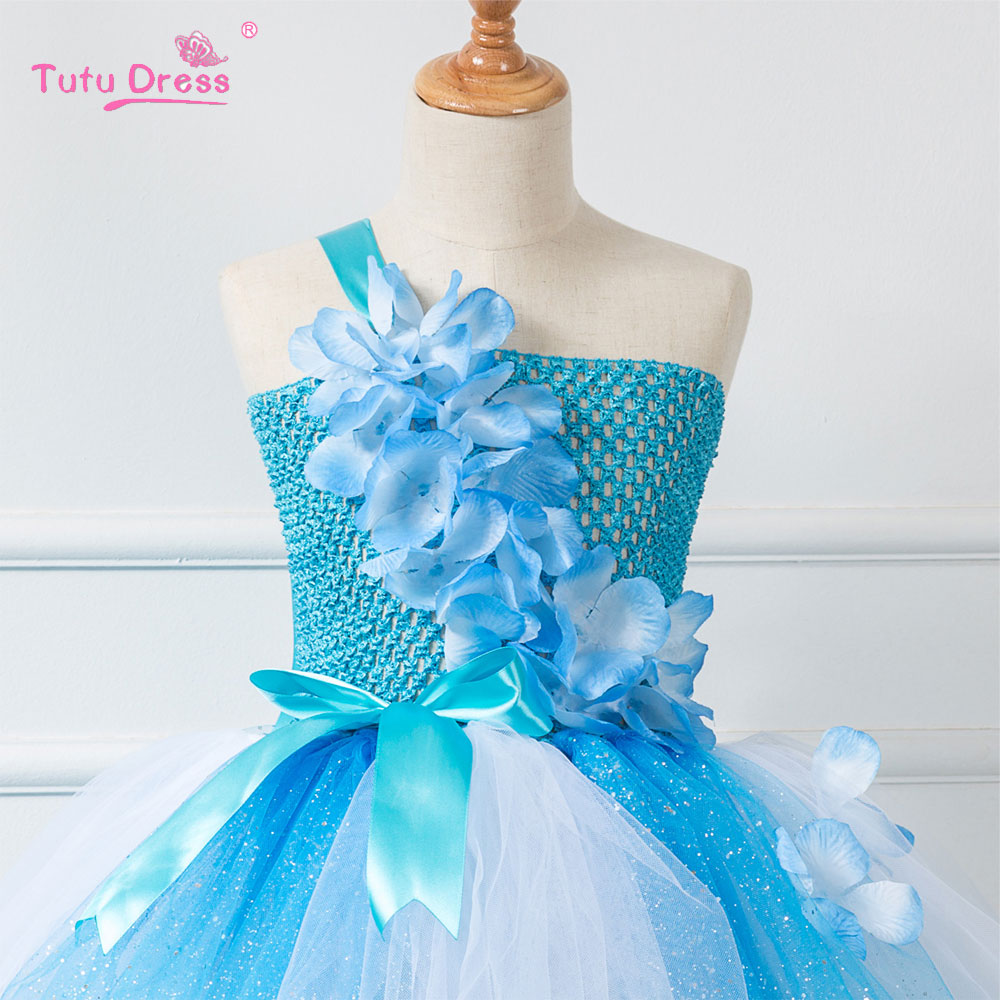 Baby Girl Summer Wedding Dress Elegant Blue Flowers Girls Birthday ...