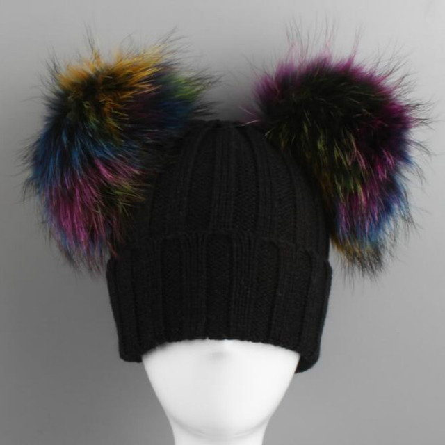 559024261 US $15.12 20% OFF Which in shower Children Real Fox Fur Double Pompom Hat  Knit Bobble Baby Girl Mink Fur Winter Beanies With Two Pom Pom Ball Top-in  ...