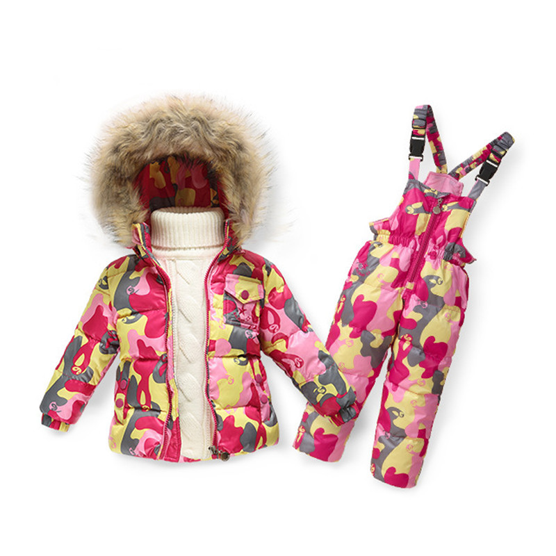 1Set Colorful Snowsuit Children s Down Jacket Suit Boys And Girls Down Pants Sets Children Clothing Set S/M/L/XL/XXL Down Coat