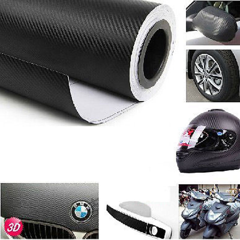 127cm x 30cm 3D Carbon Fiber Vinyl Black Films Sheets WRAP Roll Car Interior Interior Decoration Car Sticker Accessoriess