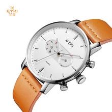 5aa1ebcd629 2019 Marca Top EYKI Duplo dial Data Homens Relógios moda Simples Couro Do  Couro Cinta Relógio de Quartzo Masculino Relógio .