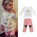 Spring Toddler Kids Children Girl Clothes Set Letter Embroidered Long Sleeve T-shirt Tops+Heart Print Pants 2Pcs Outfit Set 1-5Y