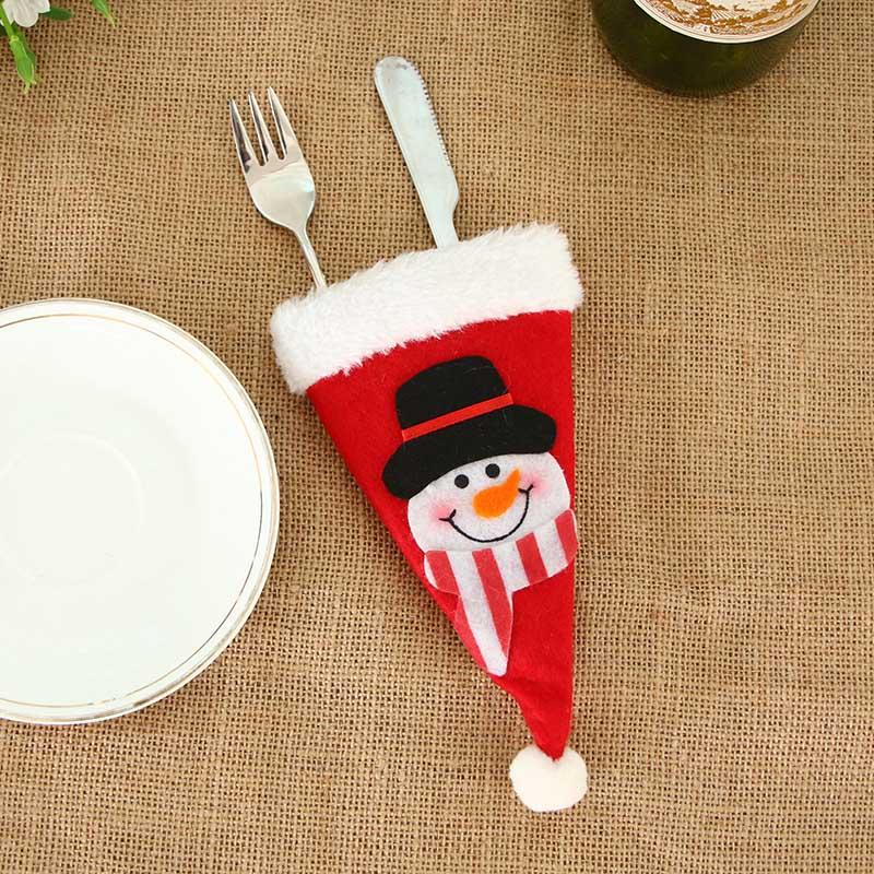 Шляпа Санты, олень, Рождество, Год, карманная вилка, нож, столовые приборы, держатель, сумка для дома, вечерние украшения стола, ужина, столовые приборы 62253 - Цвет: H11