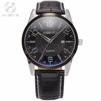 AGENTX Brand Stainless Steel Case Business Date Function Quartz Movement Men Male Black Leather Strap Fashion