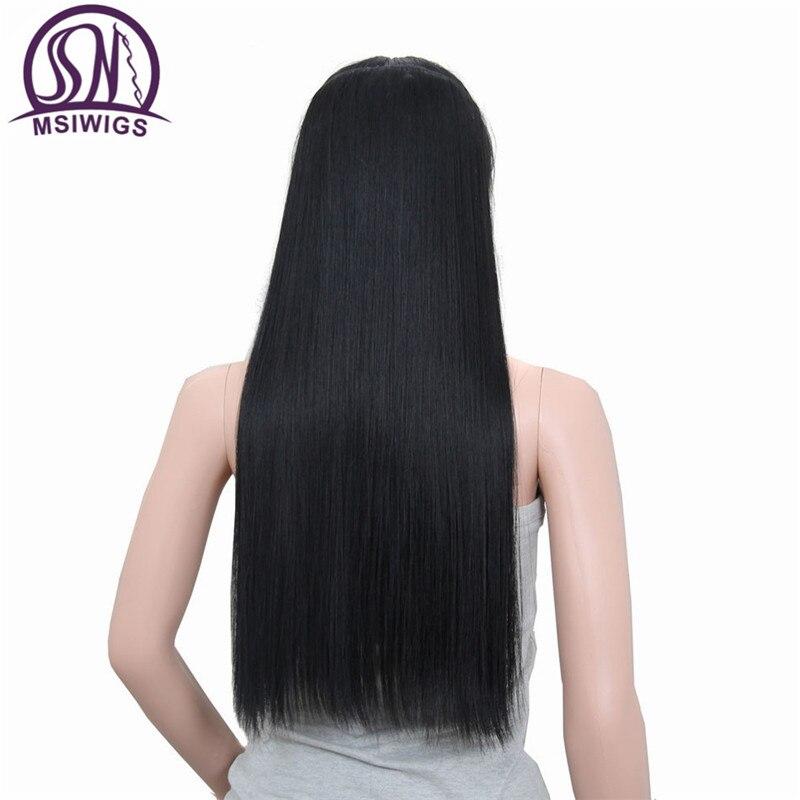 MSIWIGS Longue Ligne Droite Extension de Cheveux 5 Clips dans les Cheveux Extensions 24 Pouce Noir Synthétique Cheveux Blonde Faux Cheveux 613 #