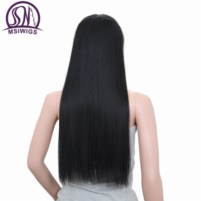 MSIWIGS Straight Long Hair Extension 5 Clips in Hair Extensions 24 Inch Black Synthetic Hair Blonde False Hair 613#