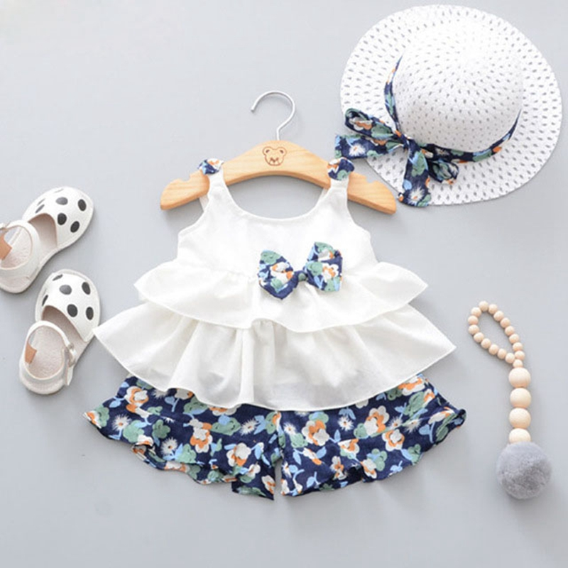 2018 Hot Products Baby Clothing Fashion Children's Clothing Girls Clothing Print Tops + Shorts + Hats 3 Pieces Girls Set
