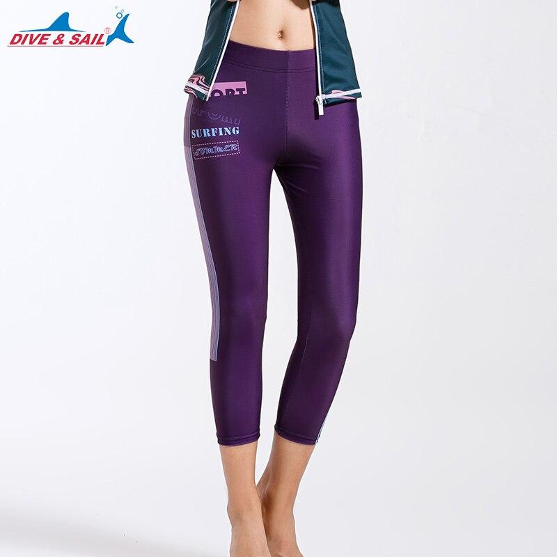 Dive & Sail Women Printed Rash Guard Pants Swim Wet Suits Leggings Tights Swimwear Water Swim UV Rash Guard Capri Pants