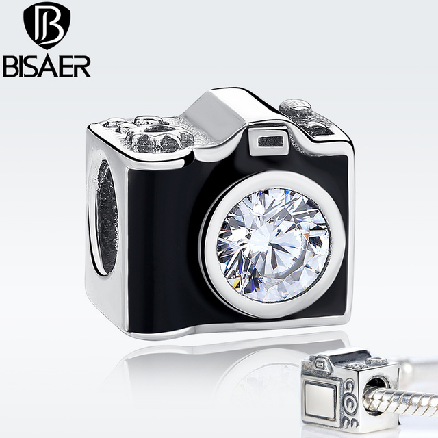 100 925 Sterling Silver Black Enamel Vintage Snapshots Camera Charm Fit Women Bracelet Diy