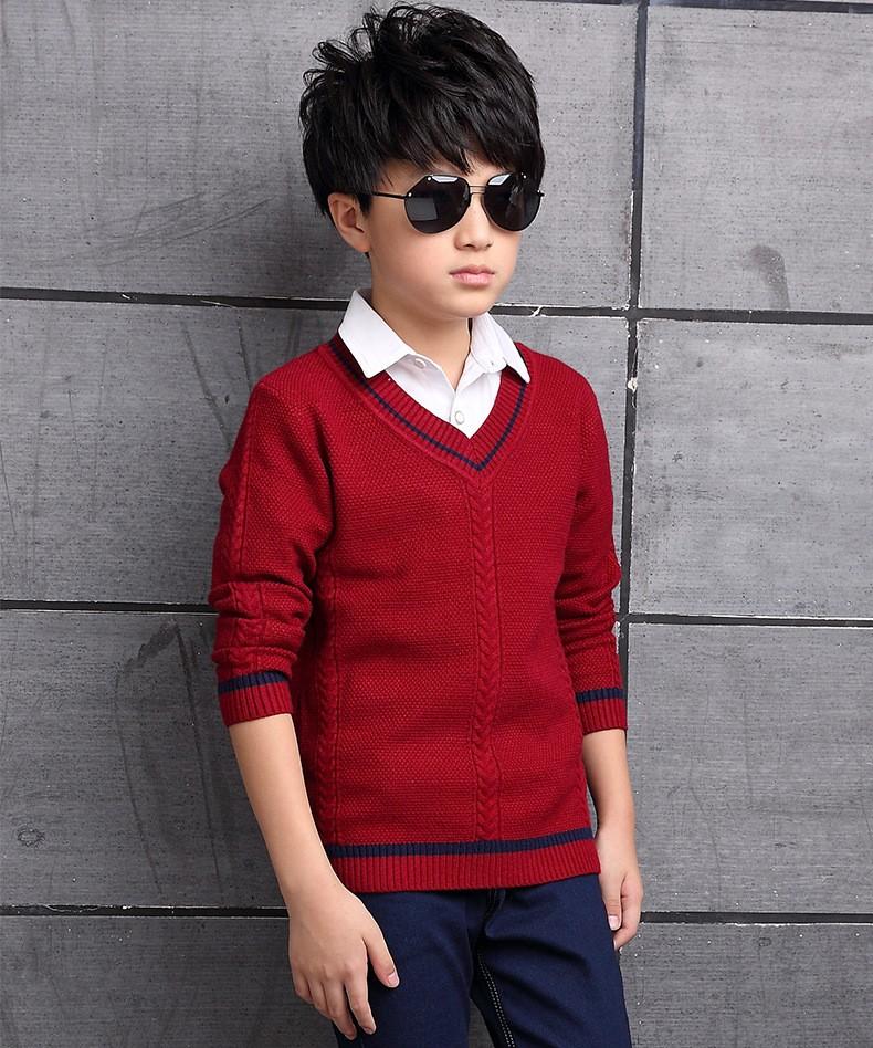 HTB1qvLnOXXXXXXIaFXXq6xXFXXX2 - 2017 Children's sweater Winter new  Keep warm Cashmere boy sweater V-collar Kids for boys Children's clothing Winter clothing