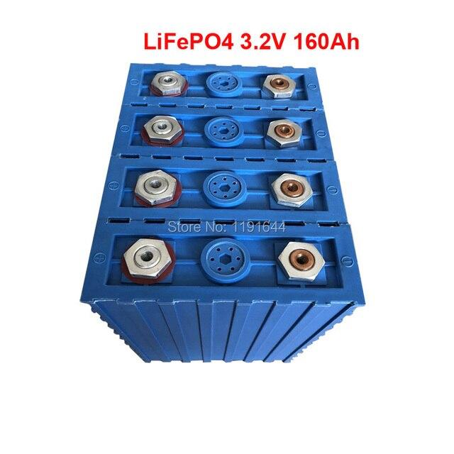 4 pcs/lot 3.2 v LiFePO4 160Ah Continue 2C 320A Décharge 12 v batterie de Stockage D'énergie Solaire Batterie