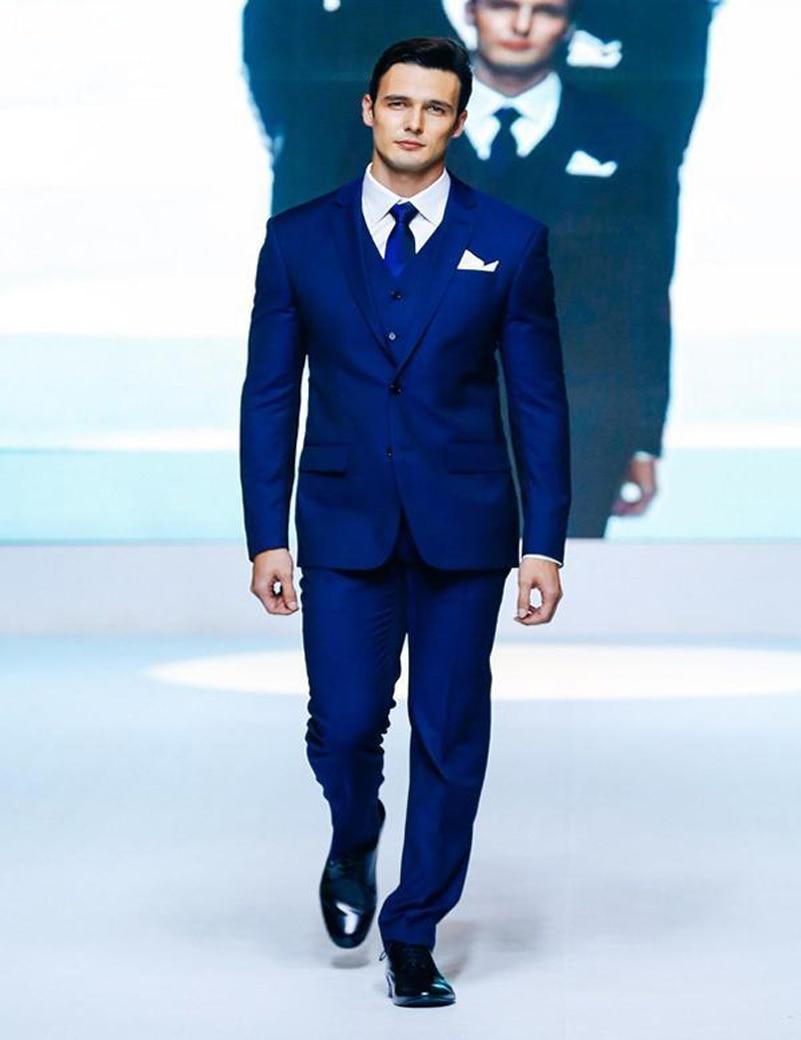Online Shop Slim Fit Men Suits Royal Blue Wedding Tuxedos Boys ...