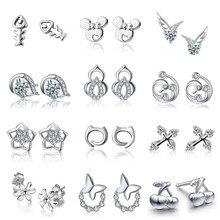 Genuine 925 sterling silver fish bone cat angel wing flower cross earrings in stud earrings diy fashion jewelry making for women недорого