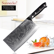 SUNNECKO High Quality 7 Cleaver Knife Damascus Steel Japanese VG10 Blade Kitchen Knives G10 Handle Meat Vegetable Cutter