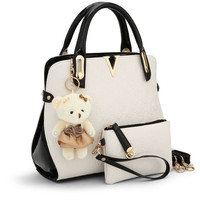 Hot Sale 2 Bags Set With Bear Toy Casual Tote Embossed Designer Top Handle Handbag Women