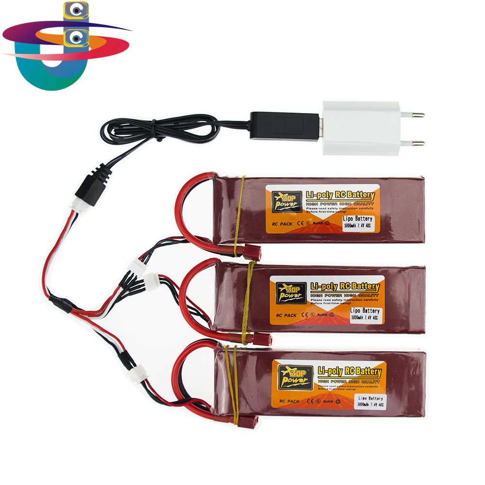 3X RC Drone Batteria 5000mah Lipo 7.4V Battery 40C XT60 T Plug 2S With USB Charger 3in1 Cable Set For RC Airplane Quadcopter 3pcs 3 7v 900mah li po battery 3 in 1 black us regulation charger and charging cable for rc xs809 xs809hc xs809hw drone