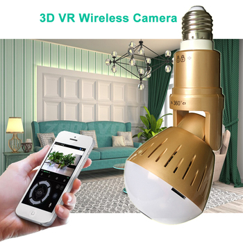 Wifi Panoramic 360 degree 2MP Wireless Light Bulb Fisheye Camera CCTV Smart Home 3D VR Security Lamp WIFI IP Camera Dual Lights 360 degree panoramic ip camera fisheye wifi cctv cam ptz 3d vr video p2p 720p audio for home ofiice security remotely mon